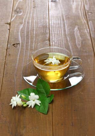 homemade jasmine tea and arabian jasmine flower Stock Photo