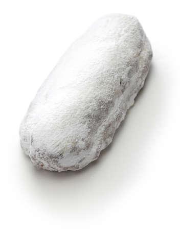 christstollen, christmas stollen, german christmas advent dessert isolated on white background Stock Photo