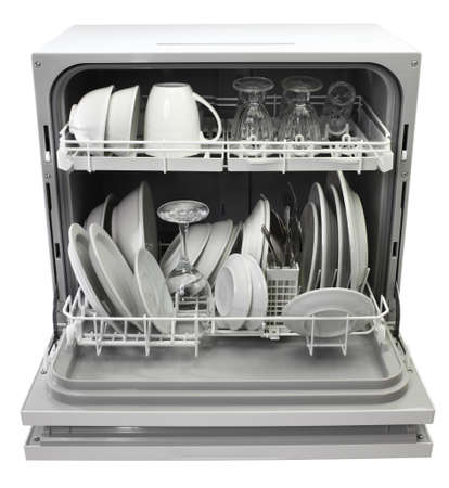 open dishwasher with clean dishes isolated on white background