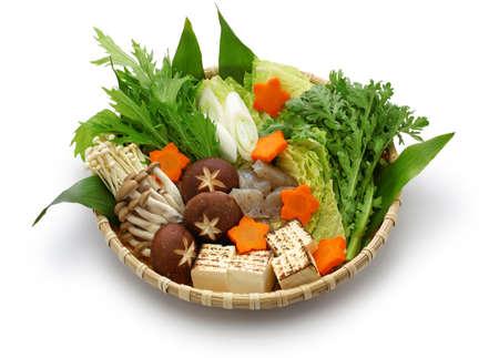 botan nabe ingredients, wild boar hot pot, japanese food