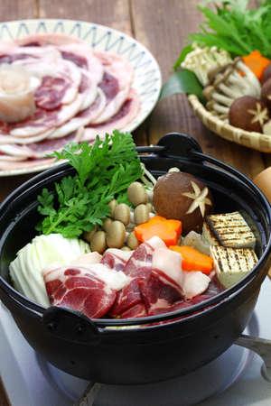 botan nabe, wild boar hot pot, japanese food