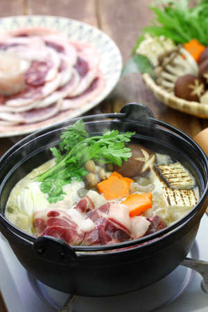 botan nabe, wild boar hot pot, japanese food