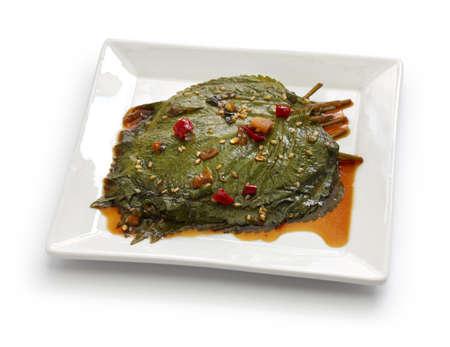 perilla leaves pickled in soy sauce, korean food, kkaennip jangajji Stock Photo