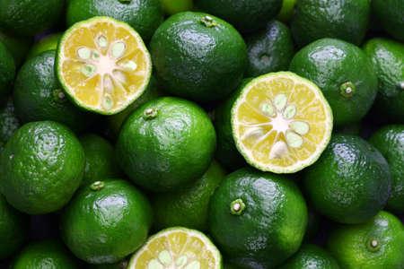 thin skinned flat lemon, hirami lemon, taiwan tangerine, citrus depressa Stock Photo