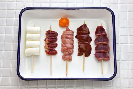 Japanese grilled chicken skewers variety Stock Photo