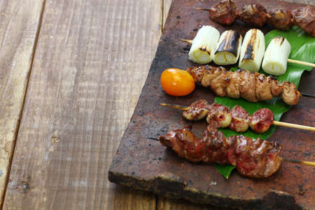 Japanese grilled chicken skewers variety