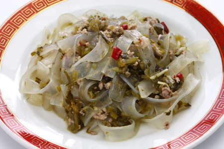 Fenpi, green bean sheet jelly noodles with pickled cabbage
