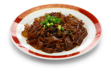 Fenpi, green bean sheet jelly noodles with minced pork meat, chinese home cooking
