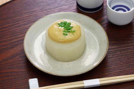 Furofuki daikon simmered Japanese radish served with miso sauce, vegetarian cuisine