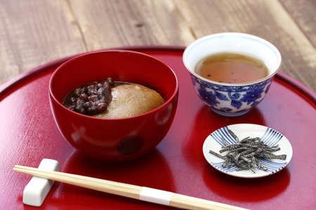 Tochi Mochi Zenzai, horse chestnuts rice cake with sweet simmered adzuki beans, a traditional japanese dessert