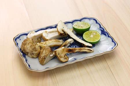 Matsutake yaki, grilled matsutake mushroom, a Japanese autumn cuisine Stock Photo