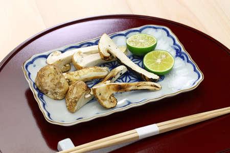 Matsutake yaki, grilled matsutake mushroom, a japanese autumn cuisine