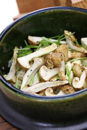 Matsutake gohan, rice cooked with matsutake mushroom, japanese food Stock Photo