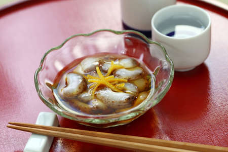 vinegared sea cucumber (namako no sunomono), Japanese cuisine Banco de Imagens