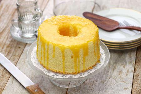 chiffon cake all'arancia fatto in casa Archivio Fotografico