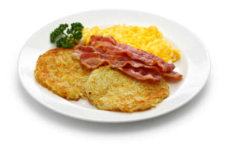 Diner style hash browns, scrambled eggs and bacon
