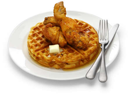 american food, the fried chicken and waffles with maple syrup