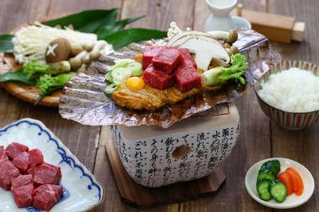 Charcoal grilled Hida beef on Hoba miso, Japanese Takayama local dish