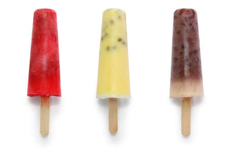 homemade ice pops, strawberry, passion fruit, and adzuki beans