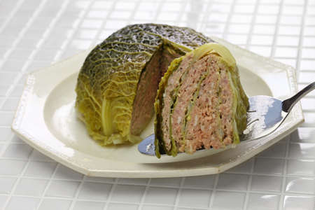 Chou farci, stuffed cabbage, traditional french cuisine Foto de archivo