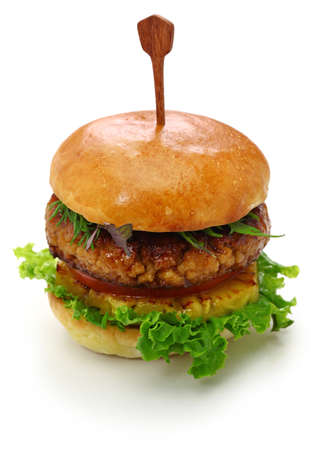Homemade vegan burger isolated on white