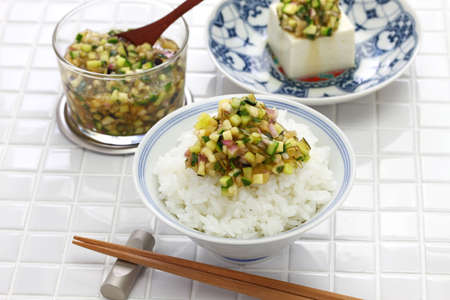 Japanese Vegan Cuisine, Dashi is Japanese chopped vegetable salad which is put on rice or tofu. Stockfoto