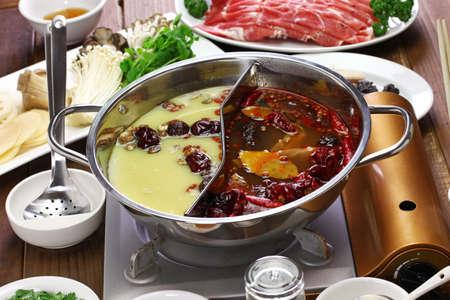 chongqing yin yang hot pot, chinese cuisine 版權商用圖片
