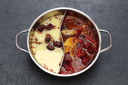 chongqing yin yang hot pot, chinese cuisine Stockfoto