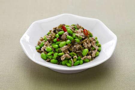 xue cai mao dou, stir fried edamame and snow vegetables, chinese cuisine