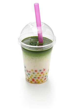 homemade tapioca drink, matcha milk