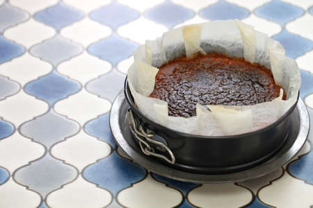 homemade basque burnt cheesecake, spanish bar dessert