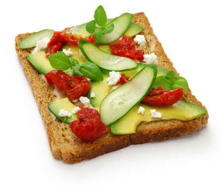 avocado toast open sandwich isolated on white background Stok Fotoğraf