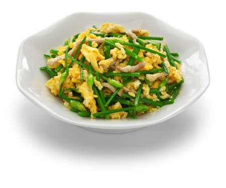 stir fried flowering garlic chives with eggs, chinese cuisine