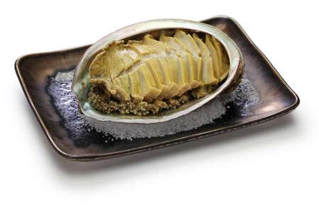 steamed abalone with sake, awabi no sakamushi, japanese cuisine
