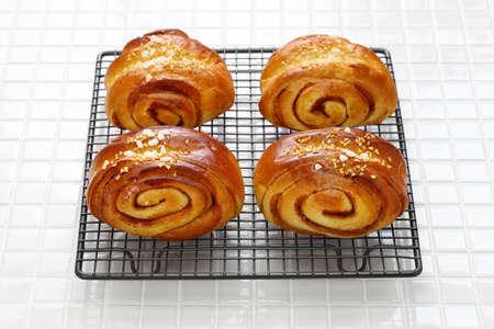 Homemade finnish cinnamon rolls, freshly made