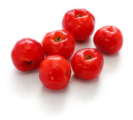 acerola fruit, barbados cherry isolated on white background Stock fotó
