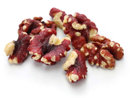 red walnuts isolated on white background