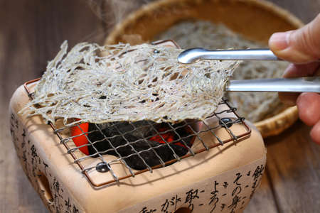 Tatami iwashi is a Japanese food made from baby sardines. Stock Photo