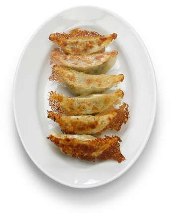 yaki gyoza, pot stickers, japanese style pan fried dumplings Stock Photo