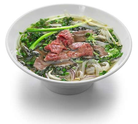 pho bo casero, sopa de fideos con carne vietnamita Foto de archivo