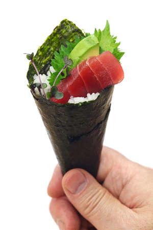 This is hand roll tuna & avocado sushi