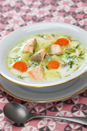 Lohikeitto, finnish traditional salmon soup Stock Photo