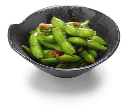 spicy garlic chili edamame, asian snack