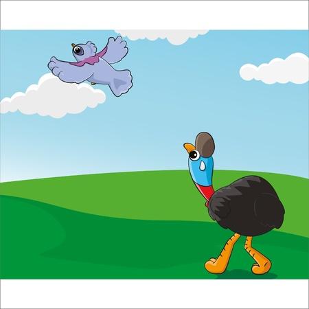 uno Cassowary che impotente di aver visto un piccione coronato del cielo Vettoriali