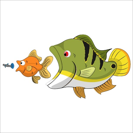 fish chain food in the pond Stock Vector - 13074182
