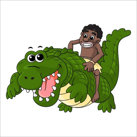 tribal men who s riding a crocodile Stock Vector - 13074173