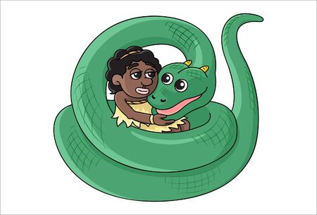 Rural girl who was playing with a serpent. Illustration