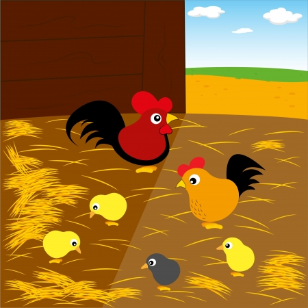 Chicken family in the ranch Illustration