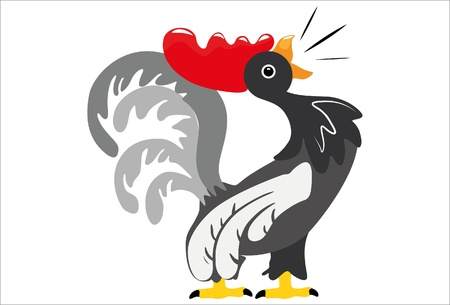 crowing rooster Stock Vector - 13890068