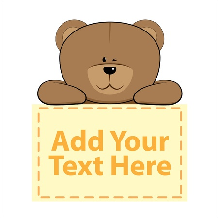 teddy bear cartoon: cute bear with banner below it Illustration